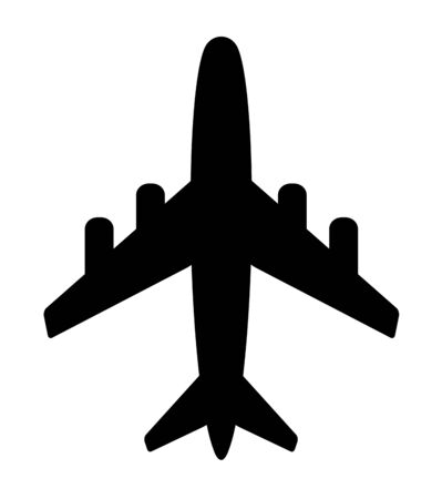 The silhouette of the airplane Imagens
