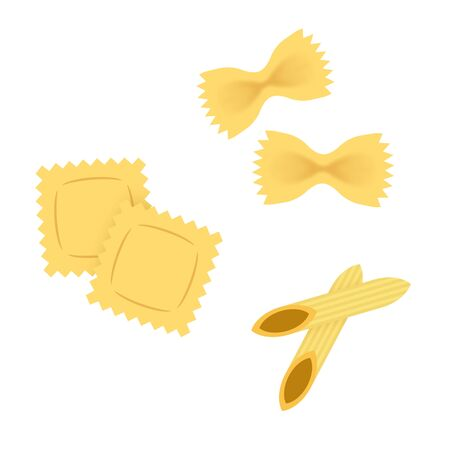 Ravioli, farfalle and penne