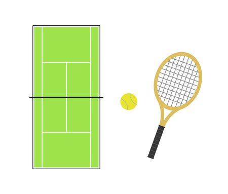 Tennis court and tennis racket 写真素材