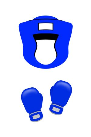 Boxing gloves and boxing helmet