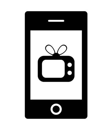 The shape of the television is reflected on the smartphone Stock fotó