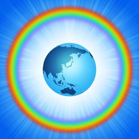 Earth inside the rainbow ring Фото со стока