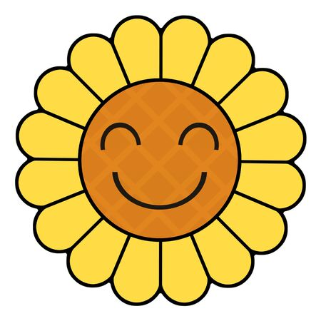 Character of a smiling sunflower Imagens