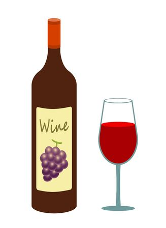 Wine glass and wine bottle Banque d'images - 137844144