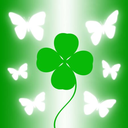 Clover and sparkling butterfly