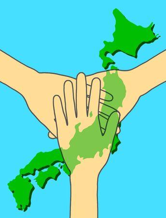 Multiple hands overlap