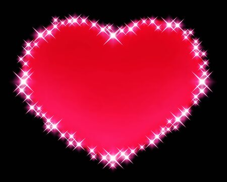 A pink heart is surrounded by light