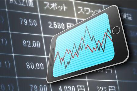 FX screen and smartphone Фото со стока