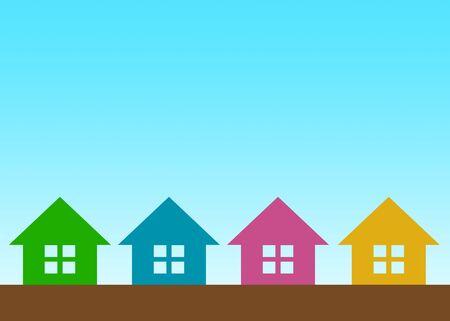 Mark of houses lined up Фото со стока