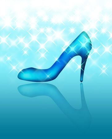 Glass shoes and sparkling background 写真素材