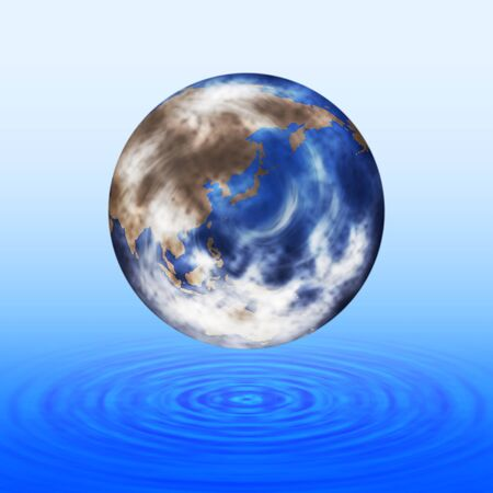 The earth floating above the ripples