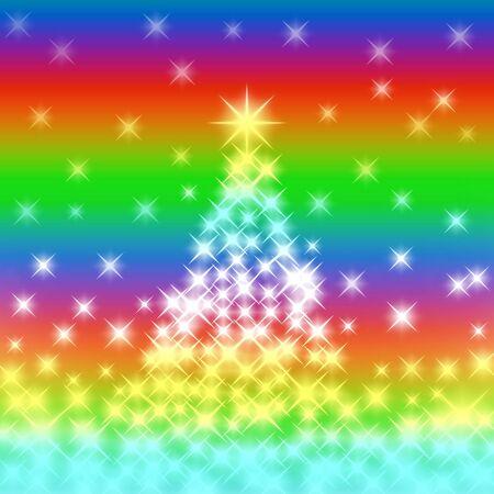 Tree of light in the rainbow