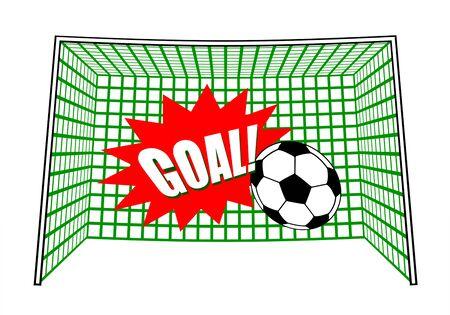 A ball is shot in a soccer goal
