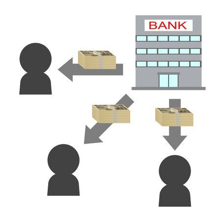 Borrow money from a bank 免版税图像