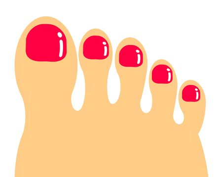 Nail of the foot on which pedicure was spread Stockfoto - 138974619