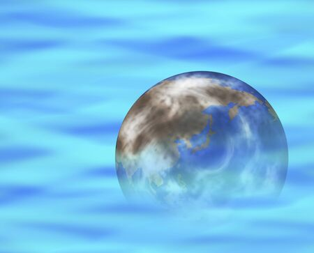 Earth floating on the water surface