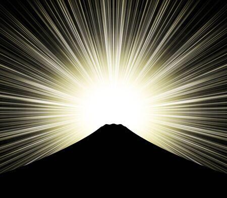 Mount Fuji silhouette and sunshine Standard-Bild