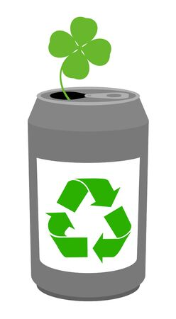 Recycled cans and clover