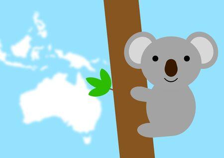 Koala and map of Australia