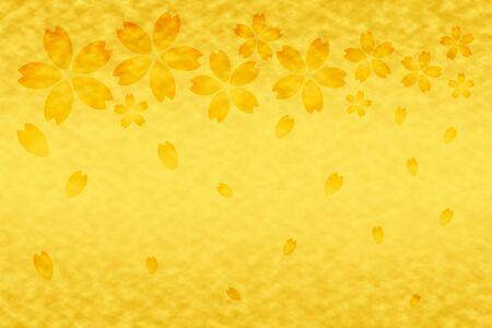 Golden cherry petals background 写真素材