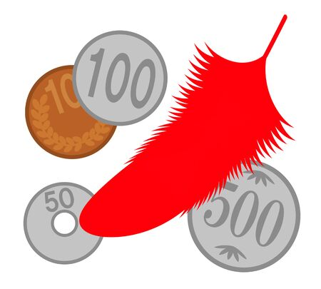 Red feather and Japanese coin 写真素材