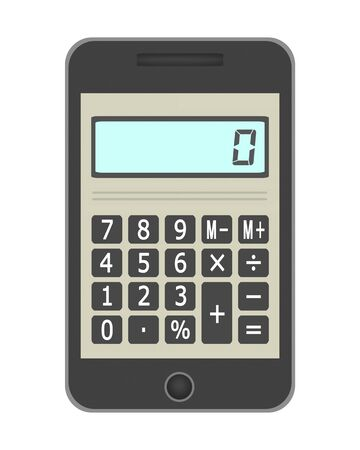 Calculator on the screen of the smartphone