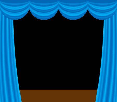 Blue stage curtain 免版税图像 - 140086737