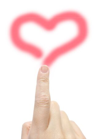 Pink heart drawn with fingers