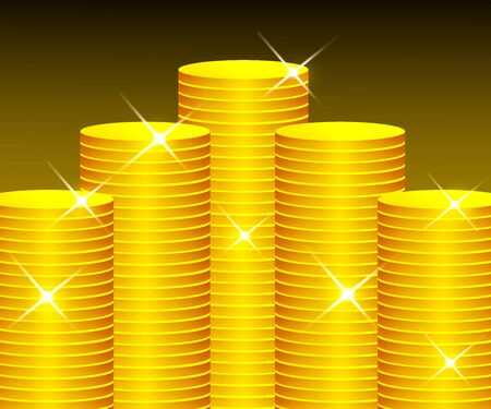 A lot of gold coins are piled up