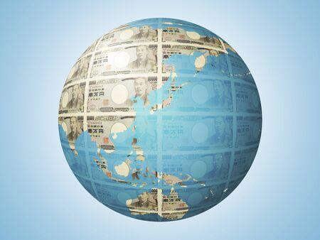 Earth of 10,000 yen bill pattern 写真素材