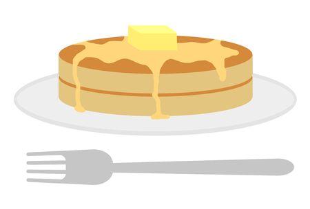 Hot cake on a plate with fork Reklamní fotografie