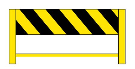 Construction barricade with yellow and black stripes