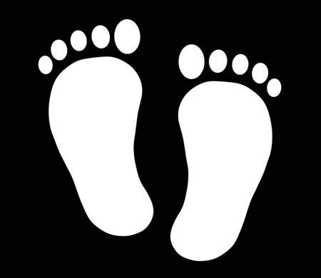 White footprint silhouette