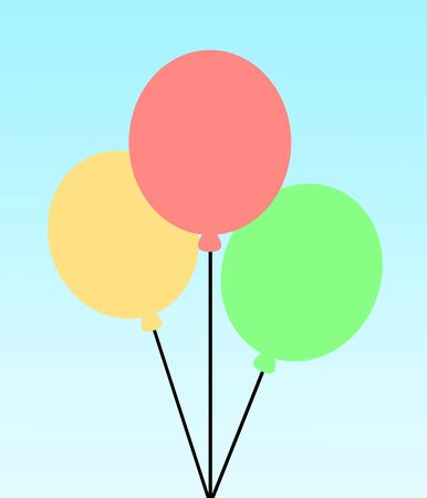 Three differently colored balloons are floating Reklamní fotografie