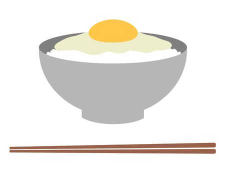 Egg over rice and chopsticks 版權商用圖片