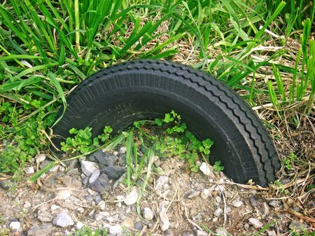 Automobile tires are buried in the soil
