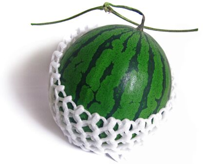 Watermelon wrapped in a net