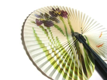 A folding fan with a picture of a flower