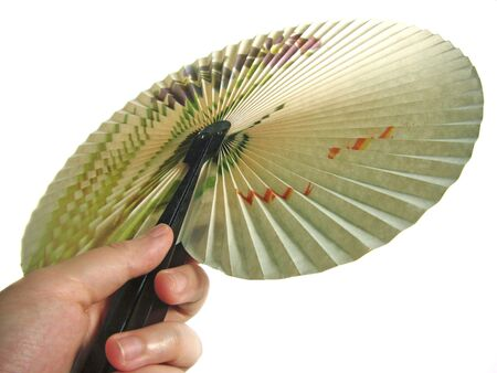 Folding fan holding in one hand