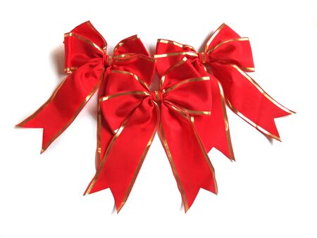 Red ribbon with gold rim