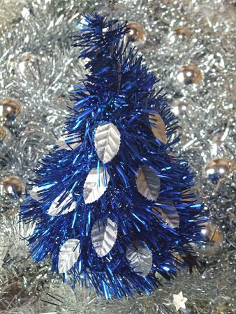 Christmas tree made of blue mall