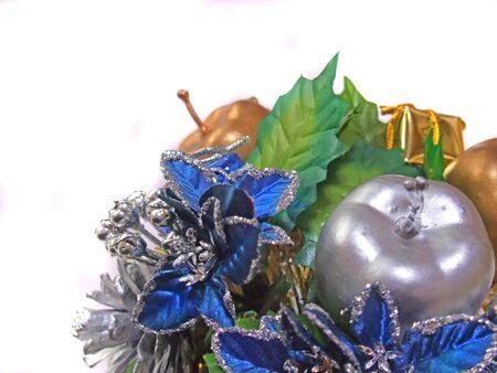 Silver apple ornament for Christmas Stockfoto
