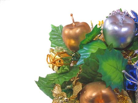 Gold and silver apple ornaments for Christmas