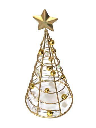 Gold Christmas tree made of metal Stockfoto