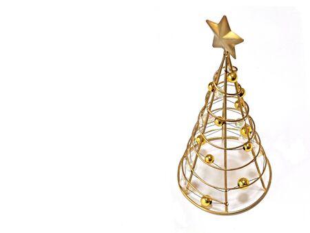 Gold Christmas tree made of metal Banco de Imagens - 142701865