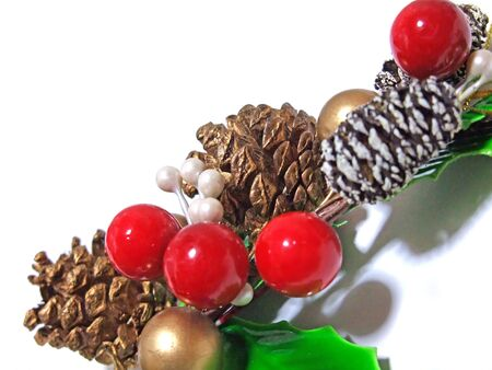 Christmas ornaments with pine cones and nuts