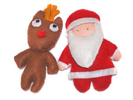 Santa Claus and Reindeer Mascot Characters Stockfoto