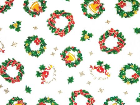 Cloth on which Christmas wreath is drawn