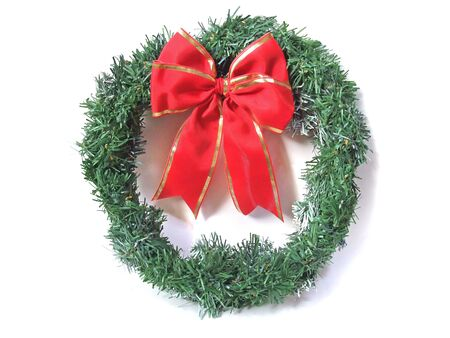 Christmas wreath of big red ribbon
