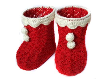 Christmas boots made of wool and wire